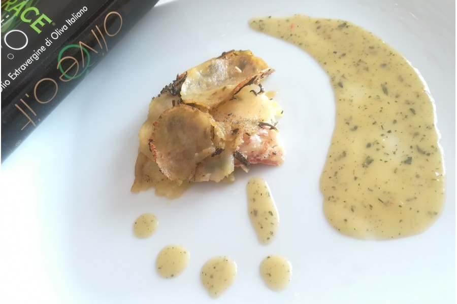 Filetto di scorfano in crosta, crema di menta e patate e olio EVO BIO Trace.